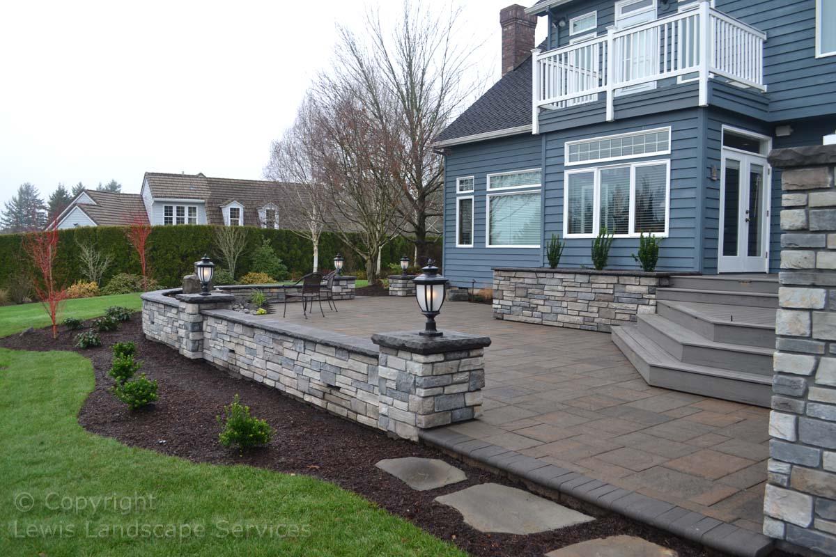Patio, Deck Steps, Seat Wall, Landscape