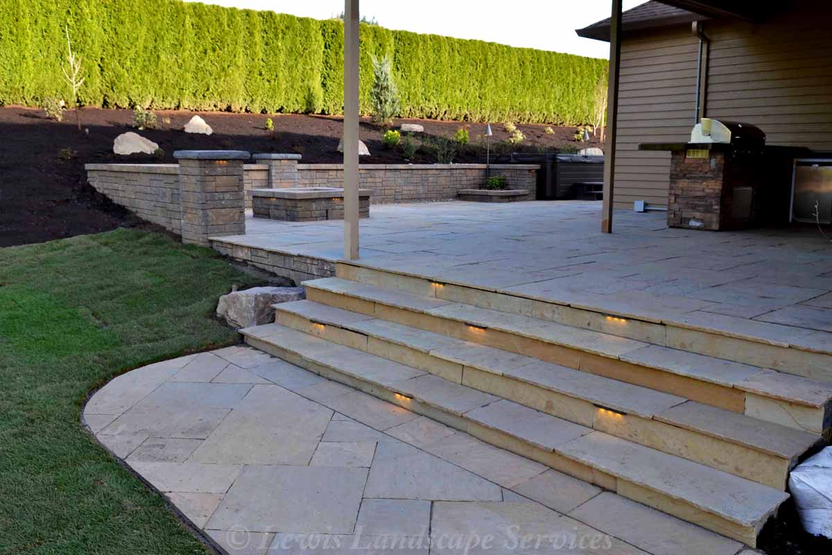 Patio, Steps, Covered Area, Fire Pit, Wall