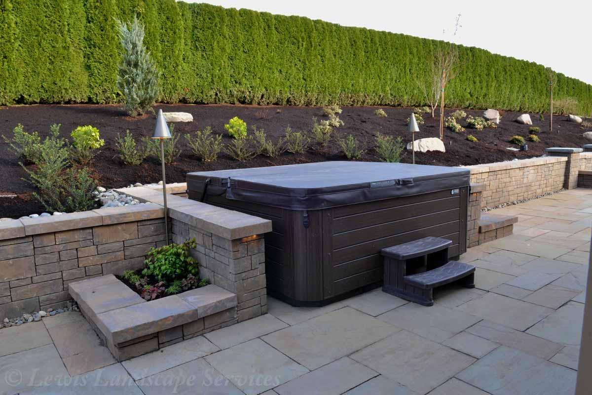 Hot Tub Area, Planters, Wall