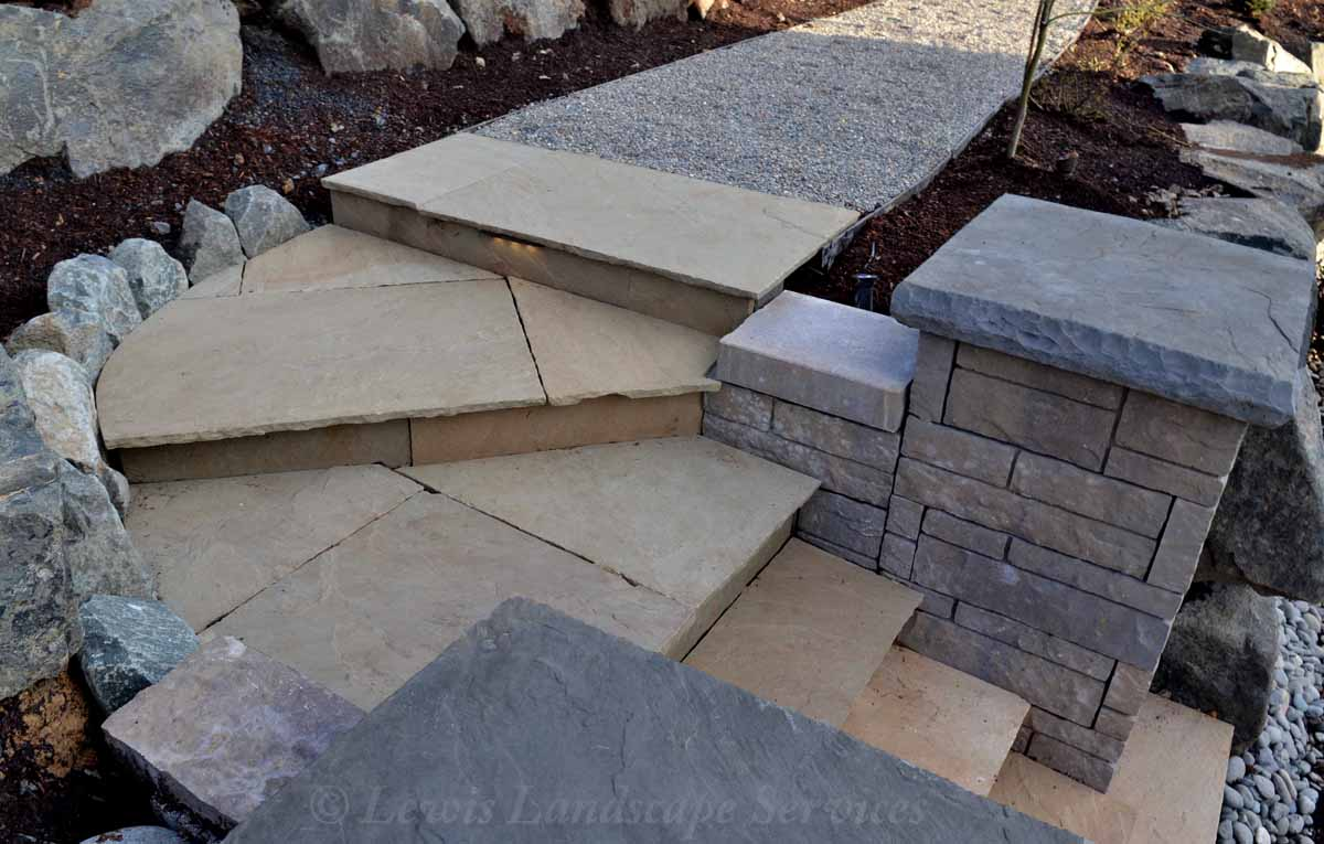 Stone Steps up to Gravel Pathway
