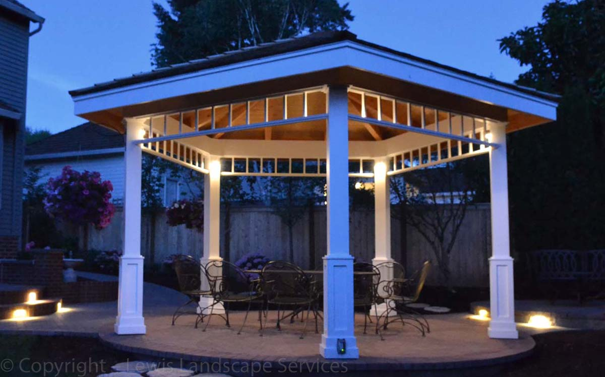 Low-voltage Lighting Built Into the Gazebo at a Landscape Installation We did in Lake Oswego Oregon