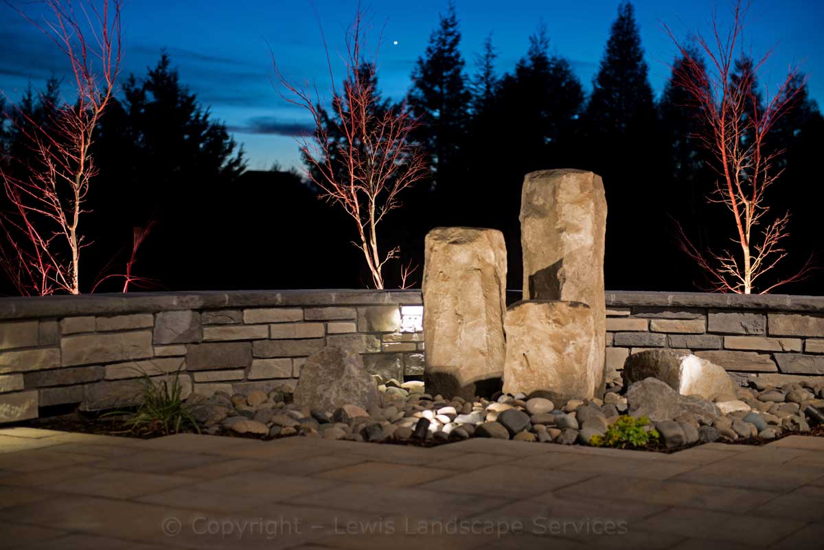 Tree Uplighting and Accent Lighting on a Bubbler Fountain at This Job We Insatlled in Beaverton, Oregon