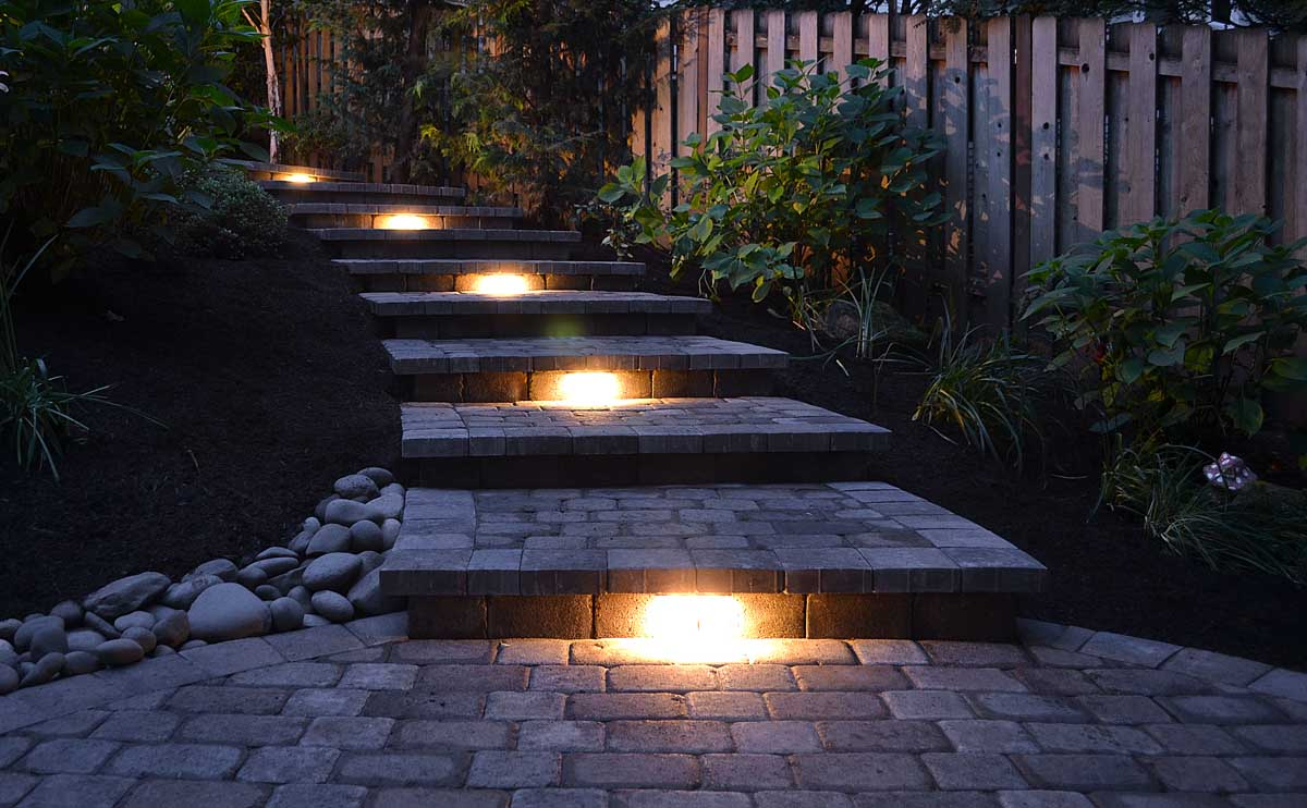 Hardscape Lights Installed In These Paver Steps at a Jobsite We Did in SW Portland, Oregon