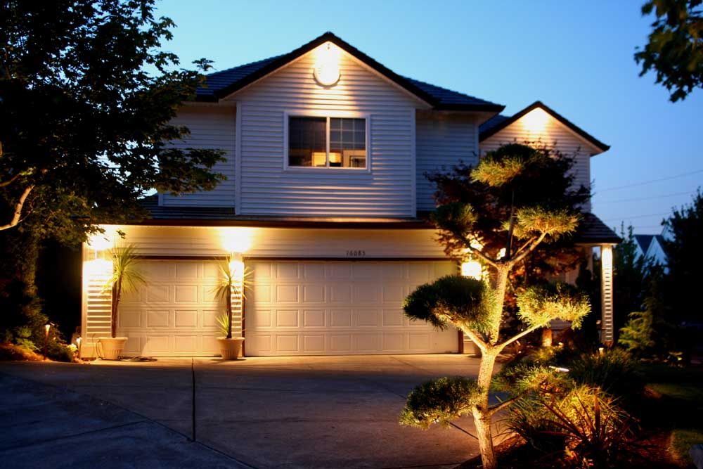 Structure Lighting (low-voltage) and Tree Uplighting at an Outdoor Lighting Installation We Did in Beaverton Oregon