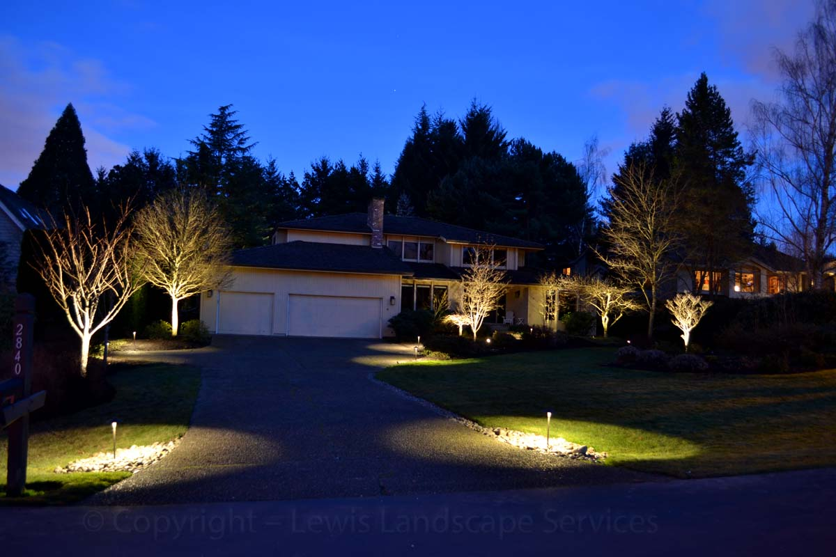 Mixture of Night Lighting Effects at this Lighting Install We Did in NW Portland Oregon