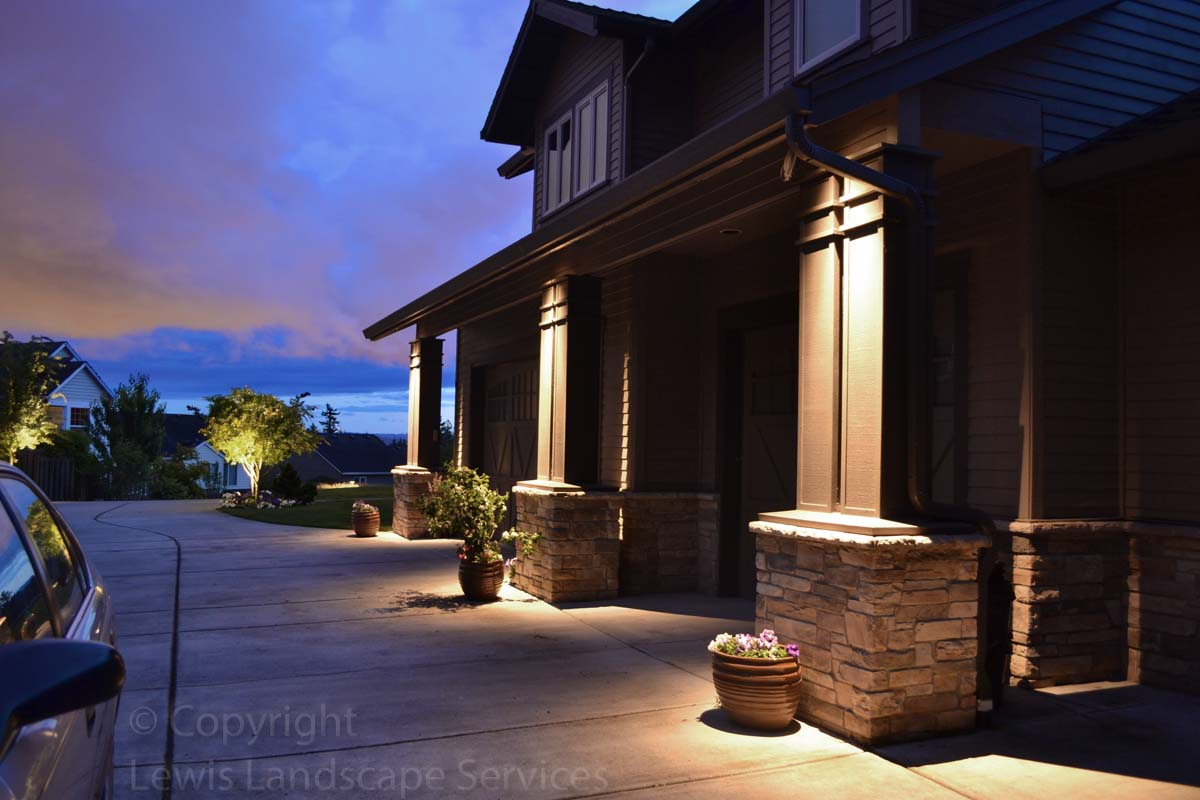 Structural Lighting & Tree Uplighting - both done with low-voltage outdoor accent lights at an Insatallation in NW Portland Oregon