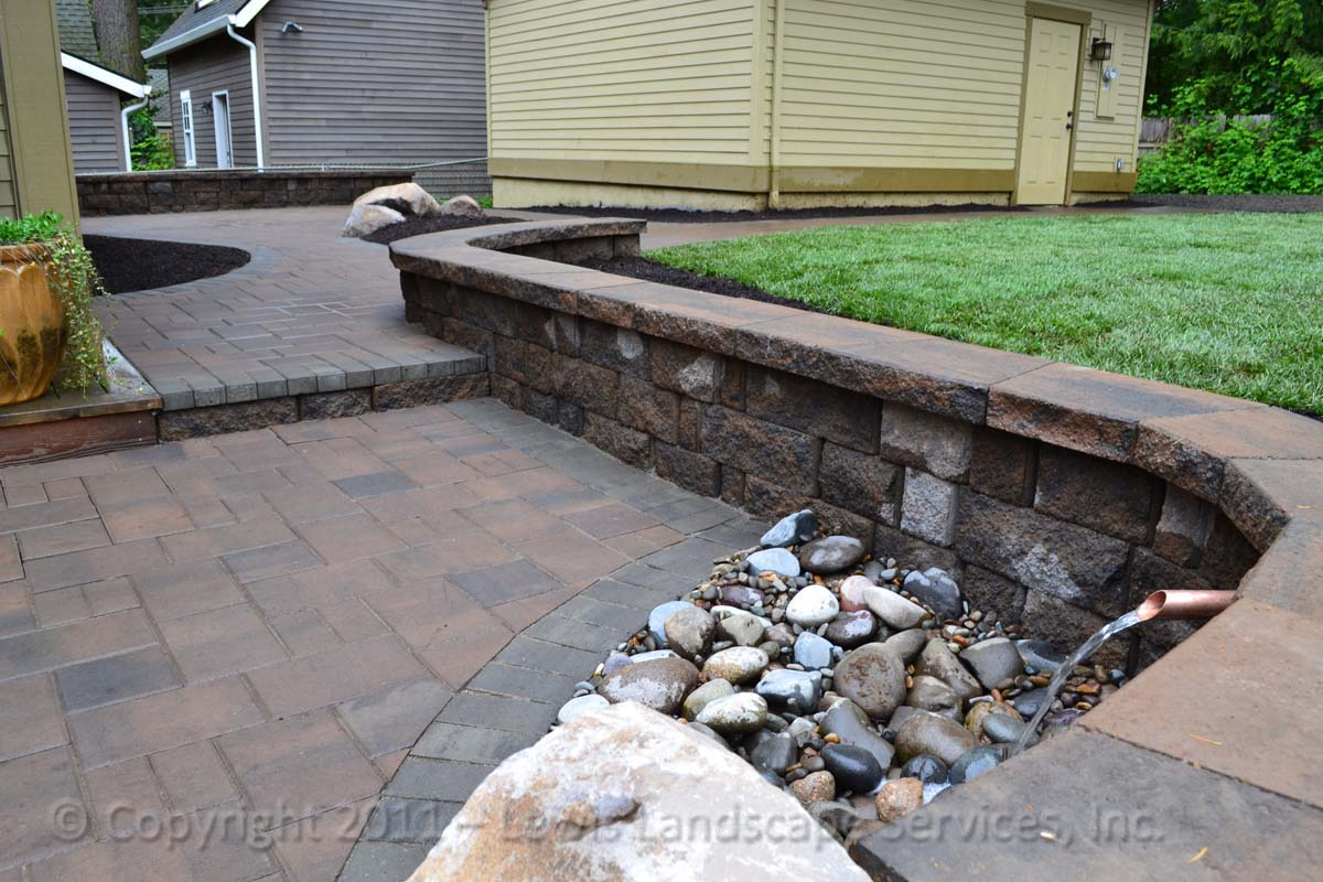 Paver Patio/Pathways, Seating Wall, Water Fountain