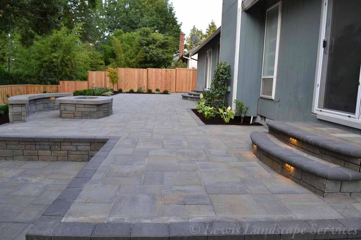 Paver Patio, Steps, Fire Pit, Seat Wall