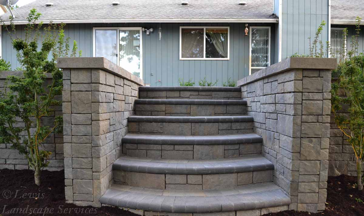 Steps Down to Lawn Area