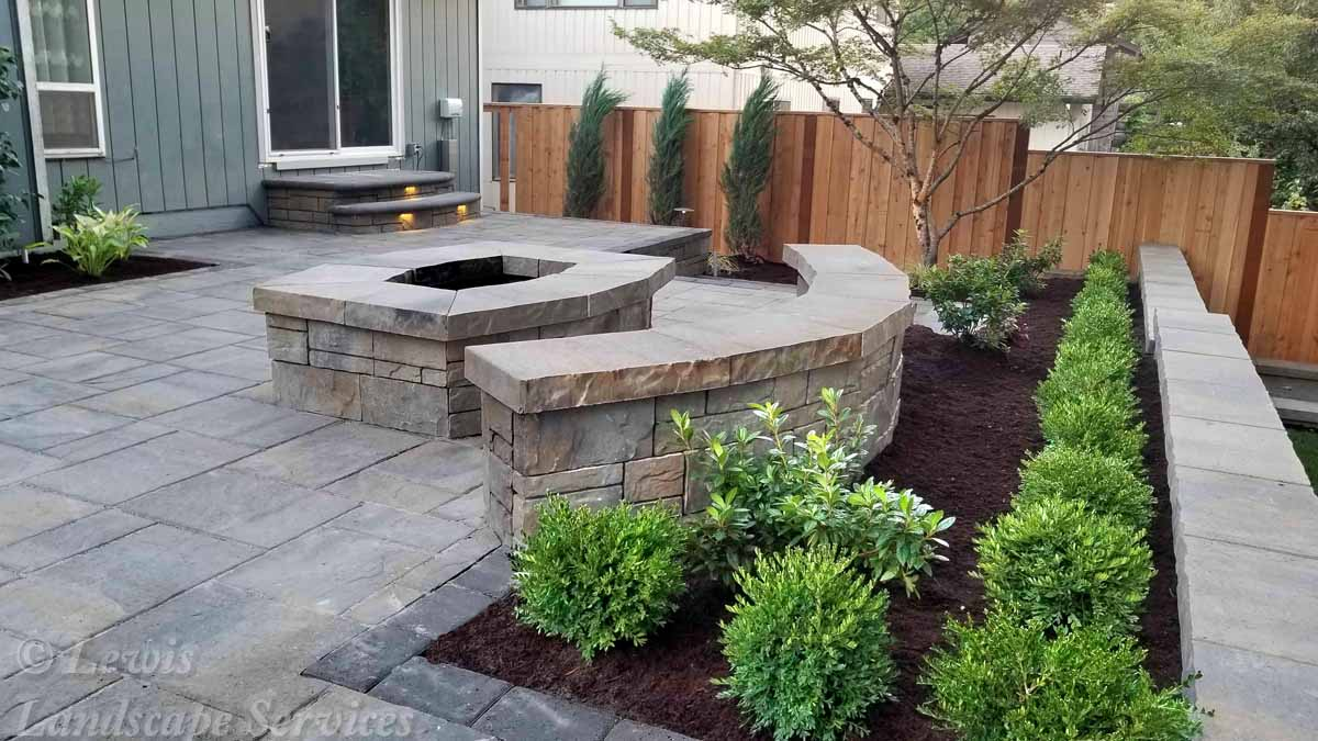 Paver Patio, Fire Pit, Seat Wall, Planting