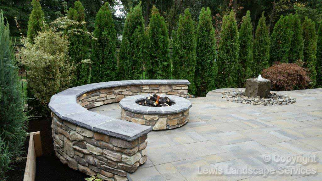 Gas Fire Pit, Seat Wall, Paver Patio, Bubbler Fountain