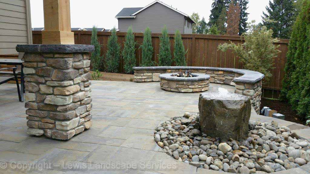 Paver Patio, Bubbler Fountain, Seat Wall, Gas Fire Pit
