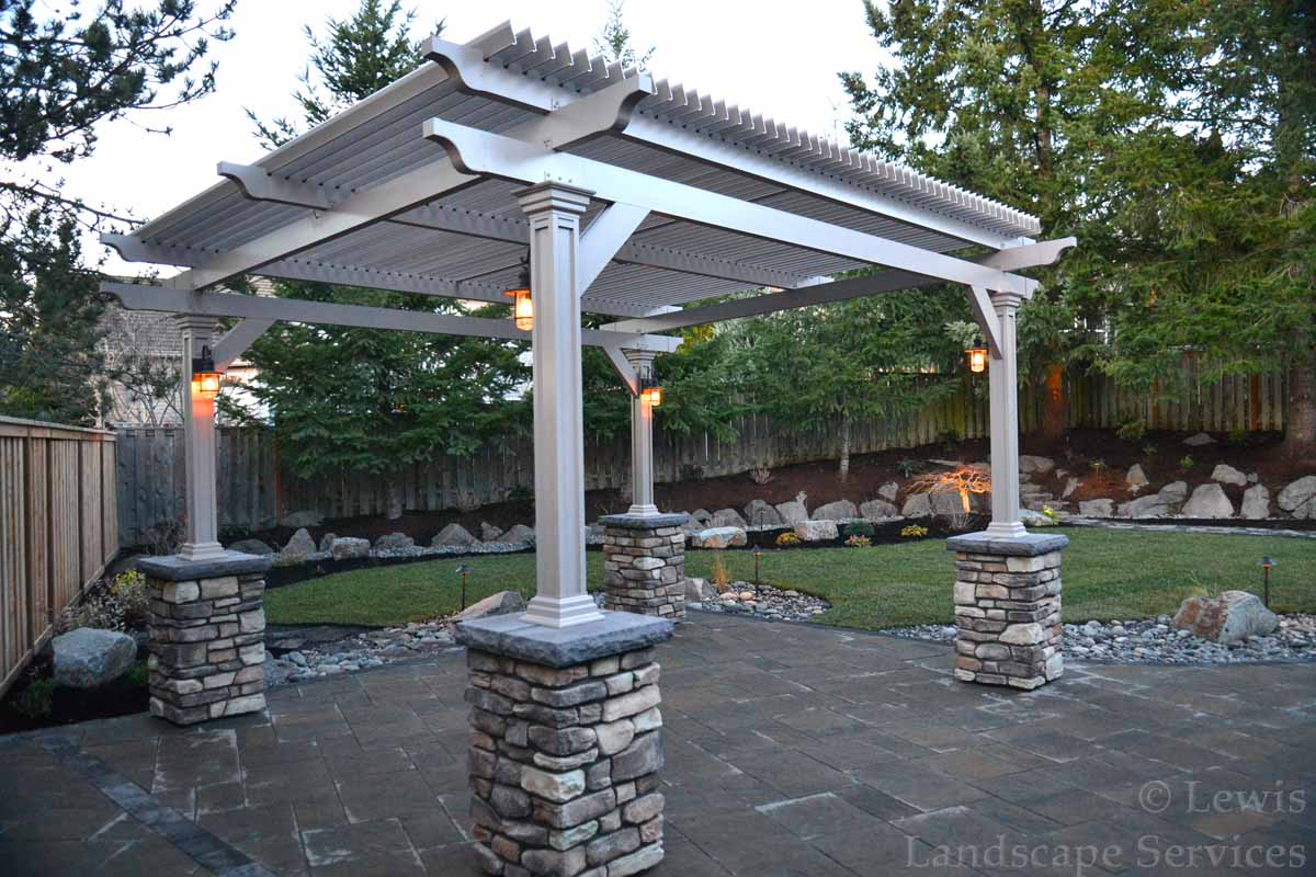 Pergola w/ Electronic Closing Roof, Stone Columns