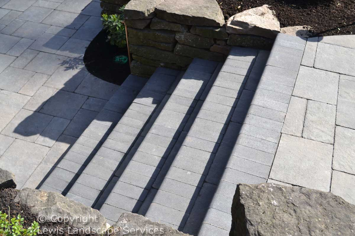 Paver Steps Down to Patio
