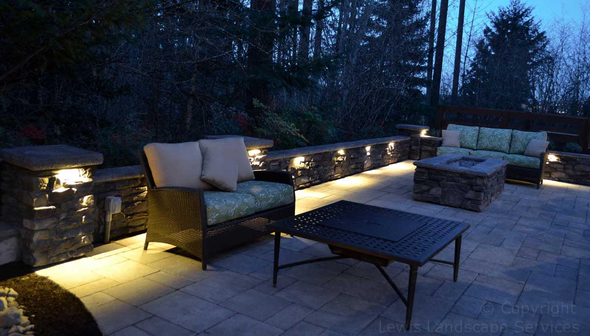 Outdoor Living Space, with Night Lighting