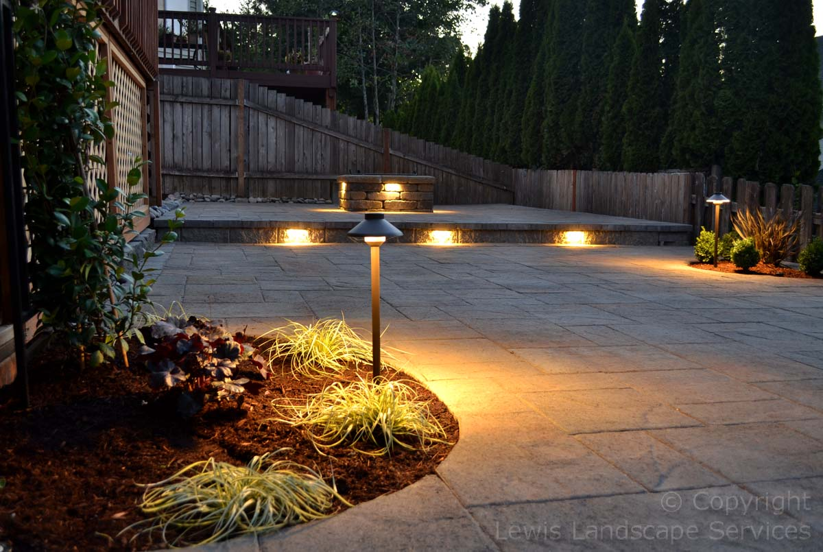 Paver Patio, 2 Levels with Fire Pit & Lighting