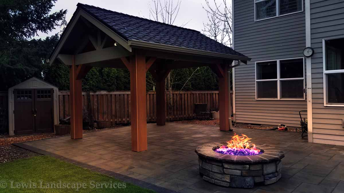 Outdoor Covered Structure, Paver Patio, Gas Fire Pit