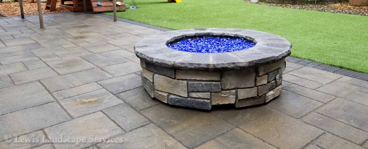 Paver Patio, Gas Fire Pit, Synthetic Turf