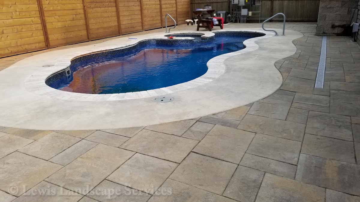 Paver Patio, Channel Drain Around Swimming Pool