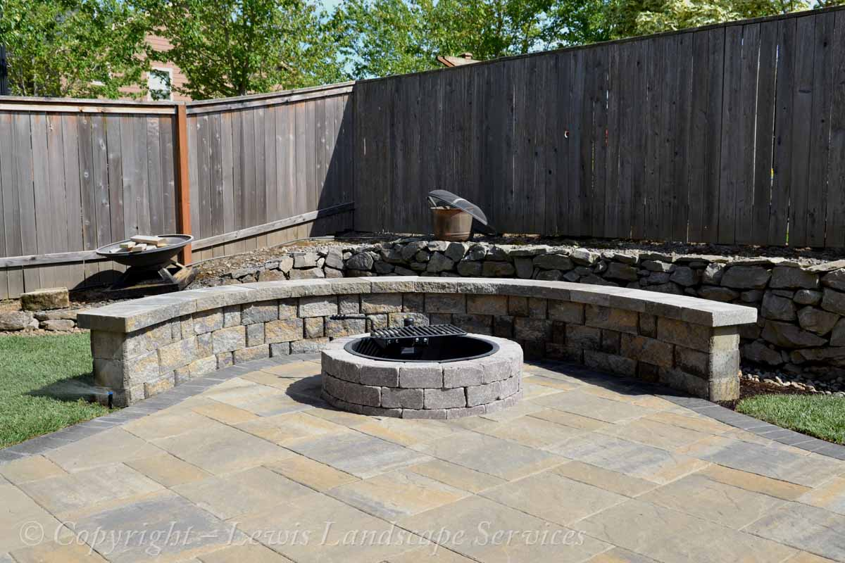 Paver Patio, Seat Wall, Wood Fire Pit