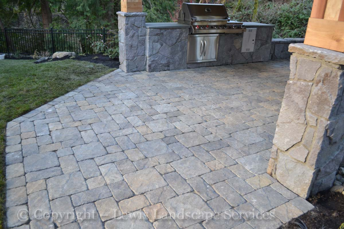 Paver Pathway to Patio, Outdoor Kitchen