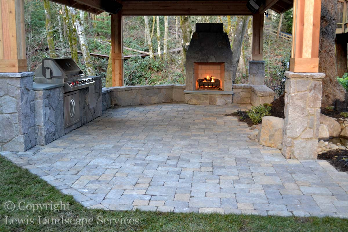 Paver Patio, Seating Walls, Outdoor Kitchen, Fireplace