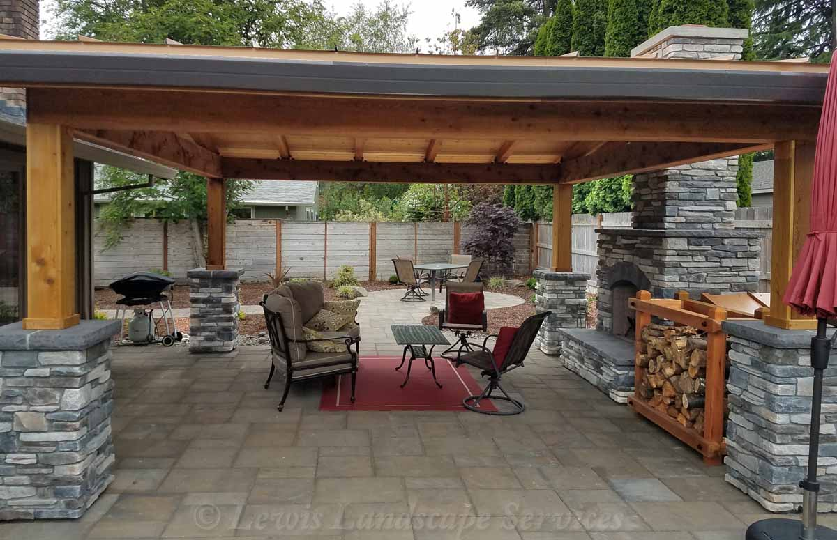 Covered Structure, Fireplace, Stone Columns, Paver Patio, More...