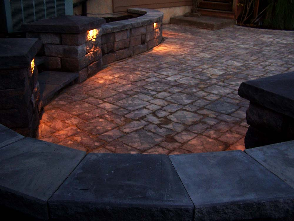 Paver Patio, Seat Walls, Columns, Lighting