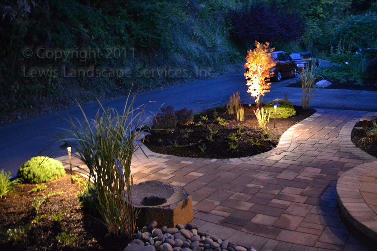 Paver Pathways & Landscape w/ Night Lighting