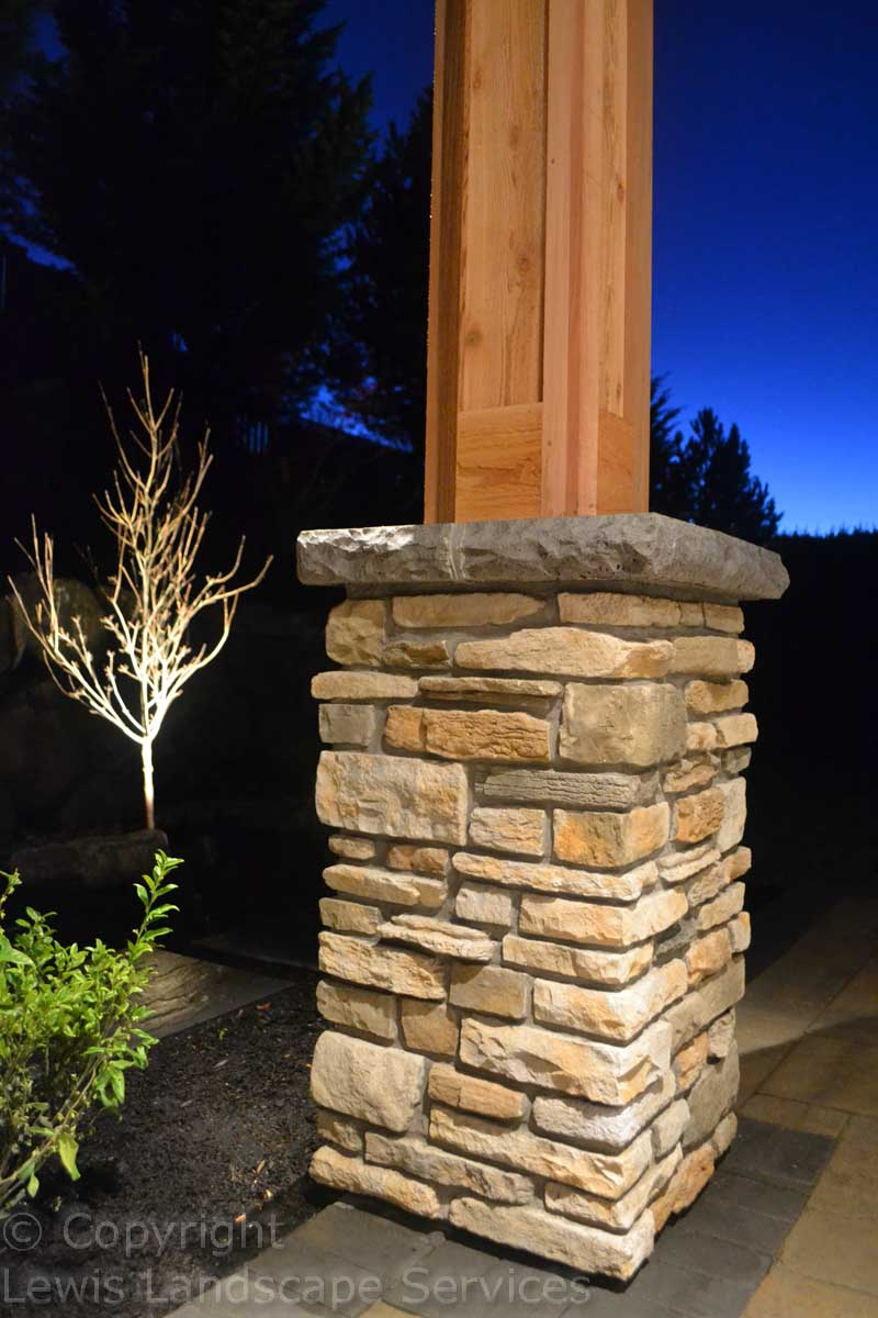 Stone Column Wraps on Posts of Covered Structure