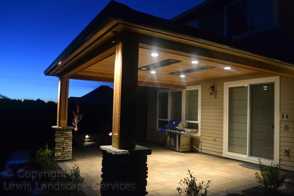 Covered Structure w/ Heaters, Paver Patio at Night