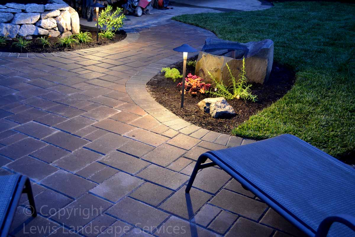 Paver Patio & Pathways w/ Night Lighting