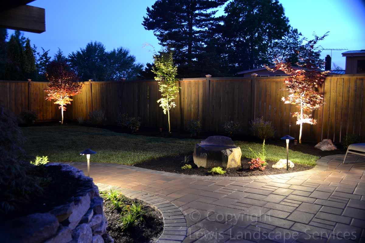 Paver Patio & Pathways w/ Night Lighting
