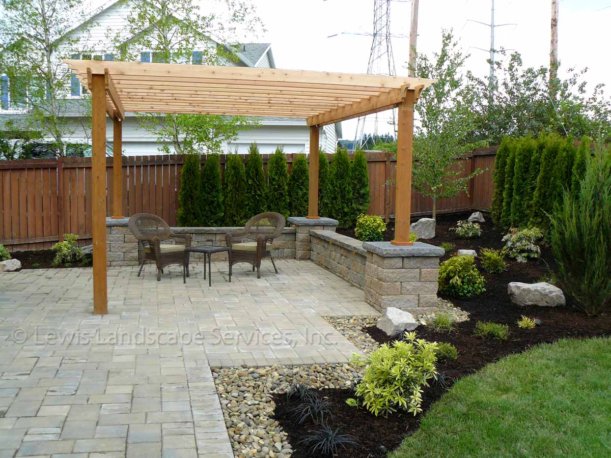 Paver Patio, Seat Walls, Pergola