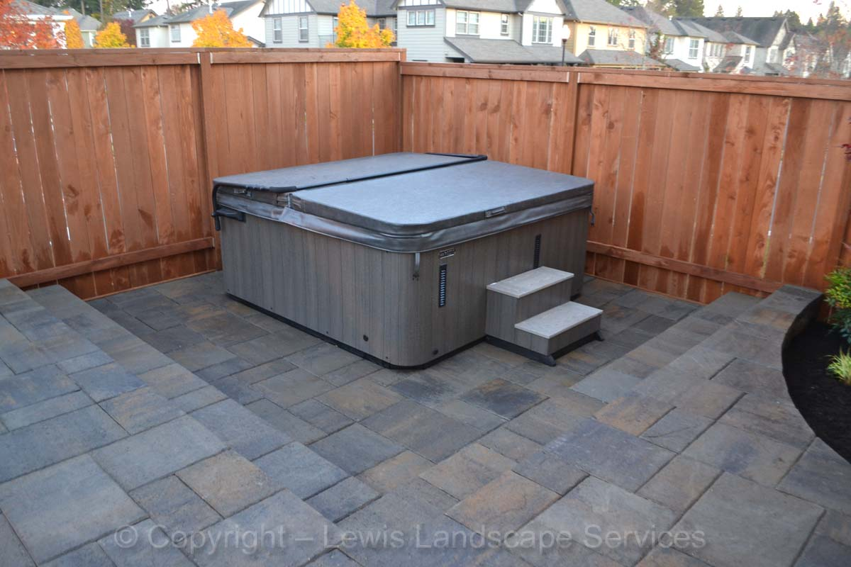 Lowered Area of Paver Patio for Hot Tub