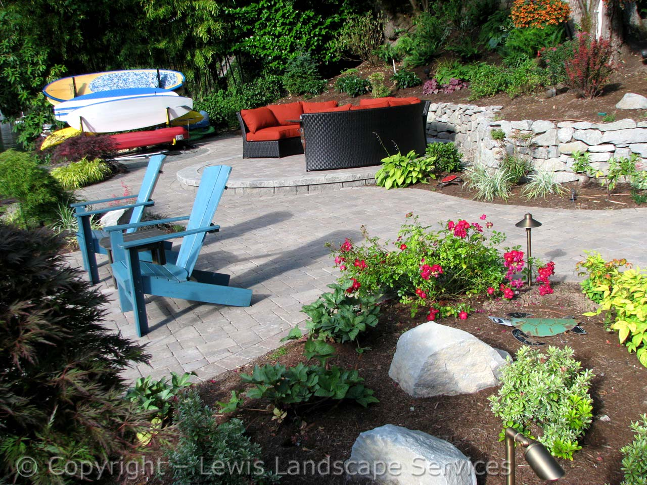 Paver Patio, Rock Wall, Landscaping