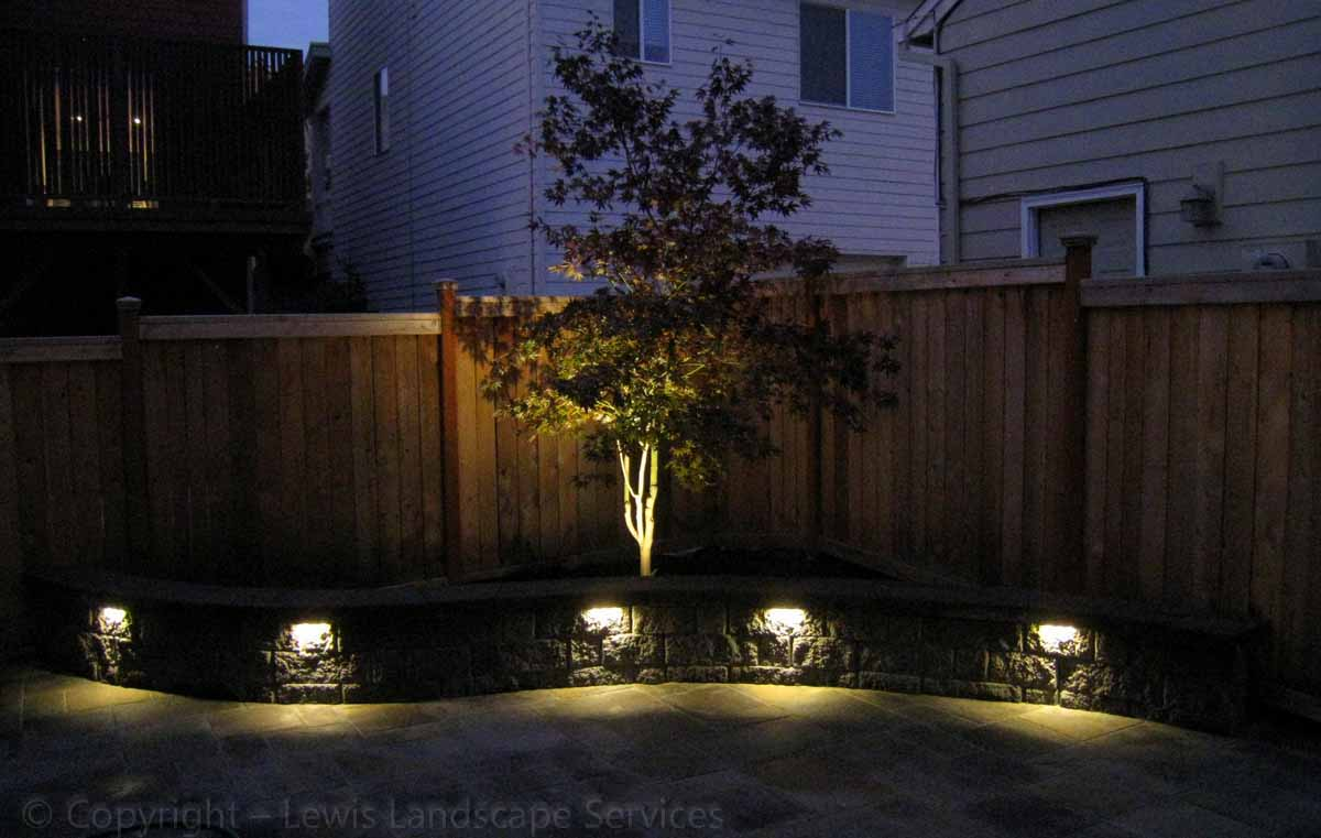Paver Patio, Seating Wall at Night