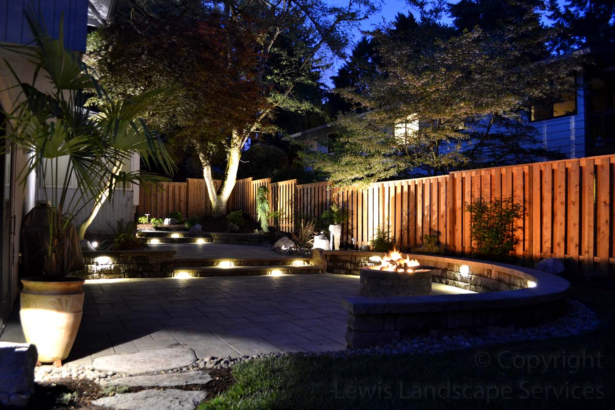 Entire Back Yard with Night Lighting