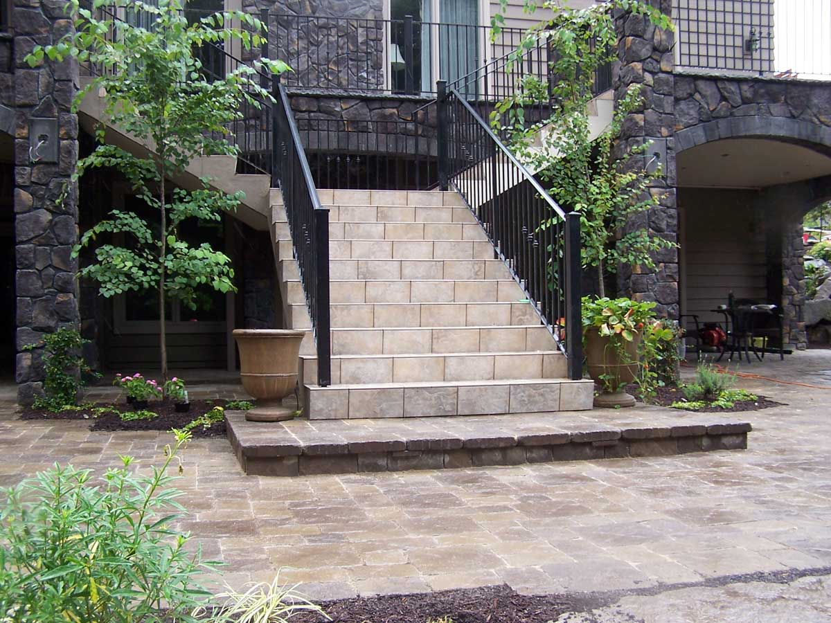 Paver Patio, Landing, Surrounding Landscaping & Rock Accents