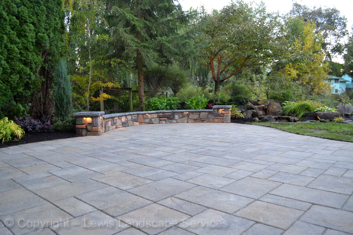 Paver Patio, Seat Wall w/ Built In Lighting