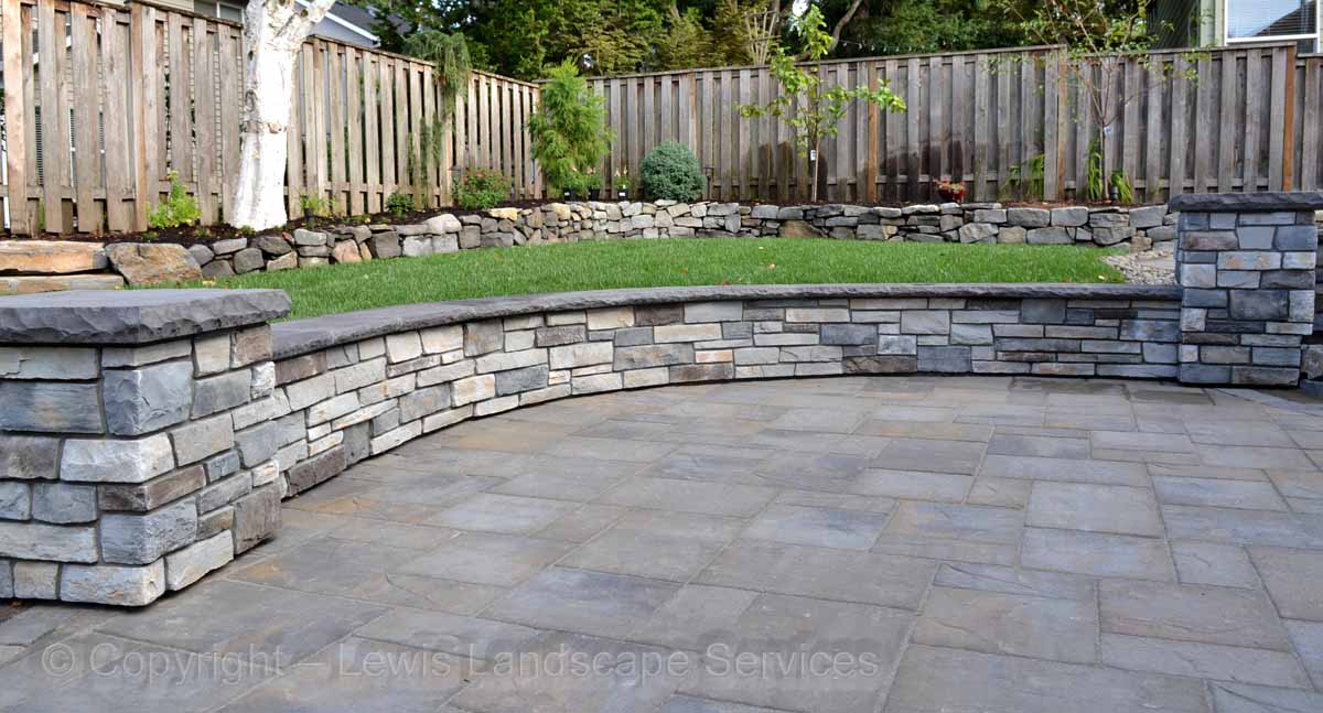 Lower Paver Patio, Seat Walls, Landscaping, Rock Wall