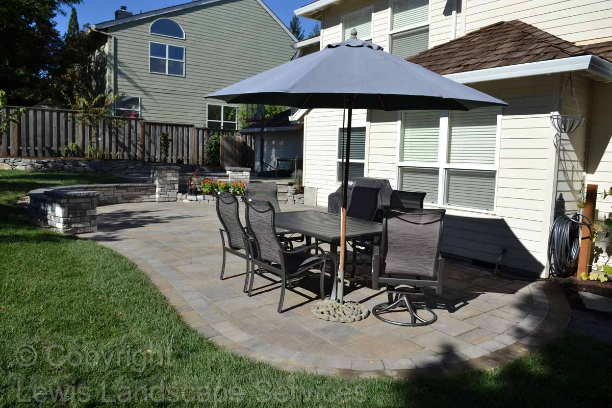 Lower Paver Patio, Seat Wall, Landscaping
