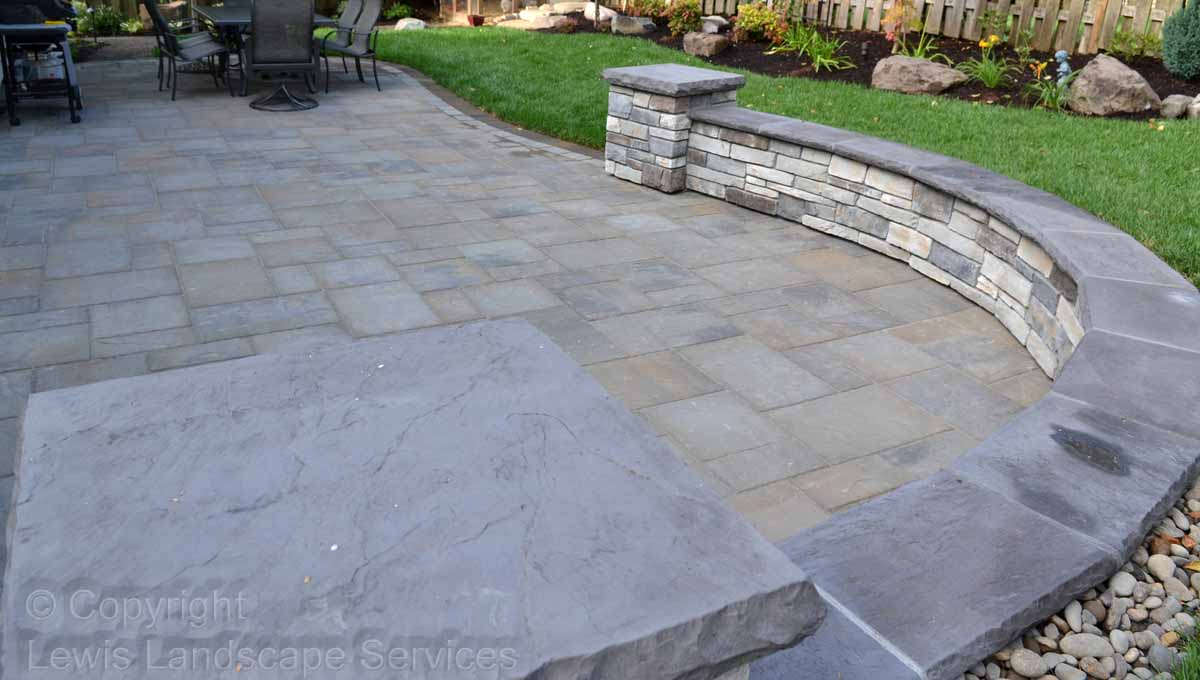 Lower Paver Patio, Seat Walls, Landscaping