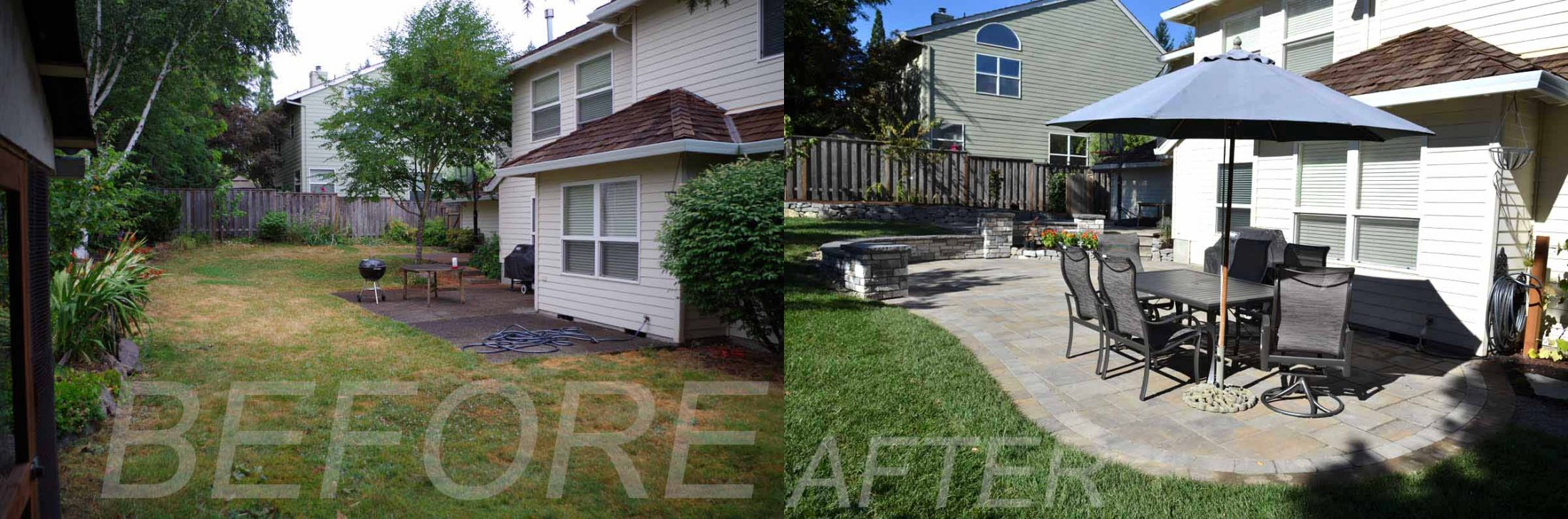 Before-After Pic of Back Yard Remodel