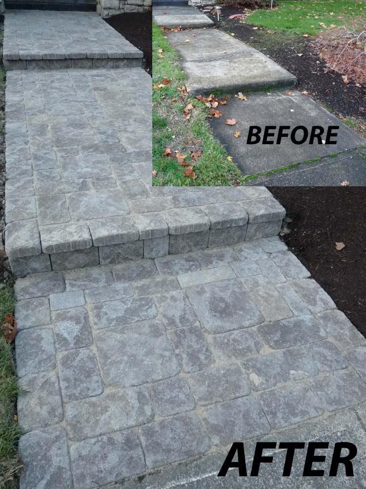 Before-After of Paver Pathway to Front Door