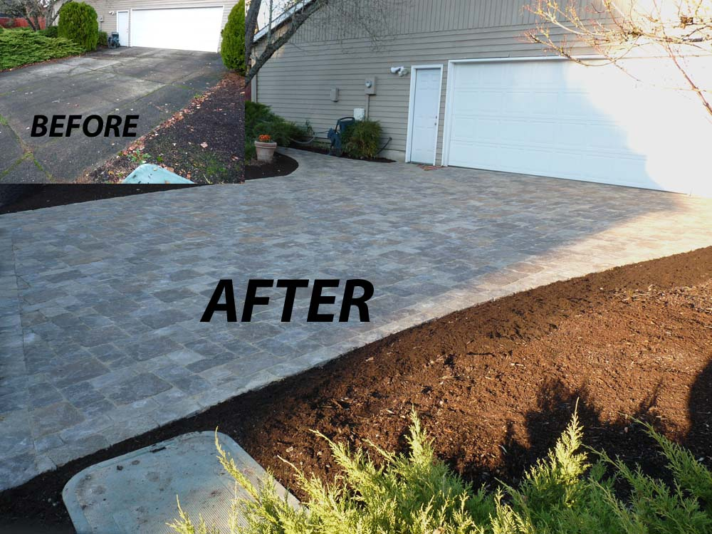 Before - After of Paver Driveway & Pathway