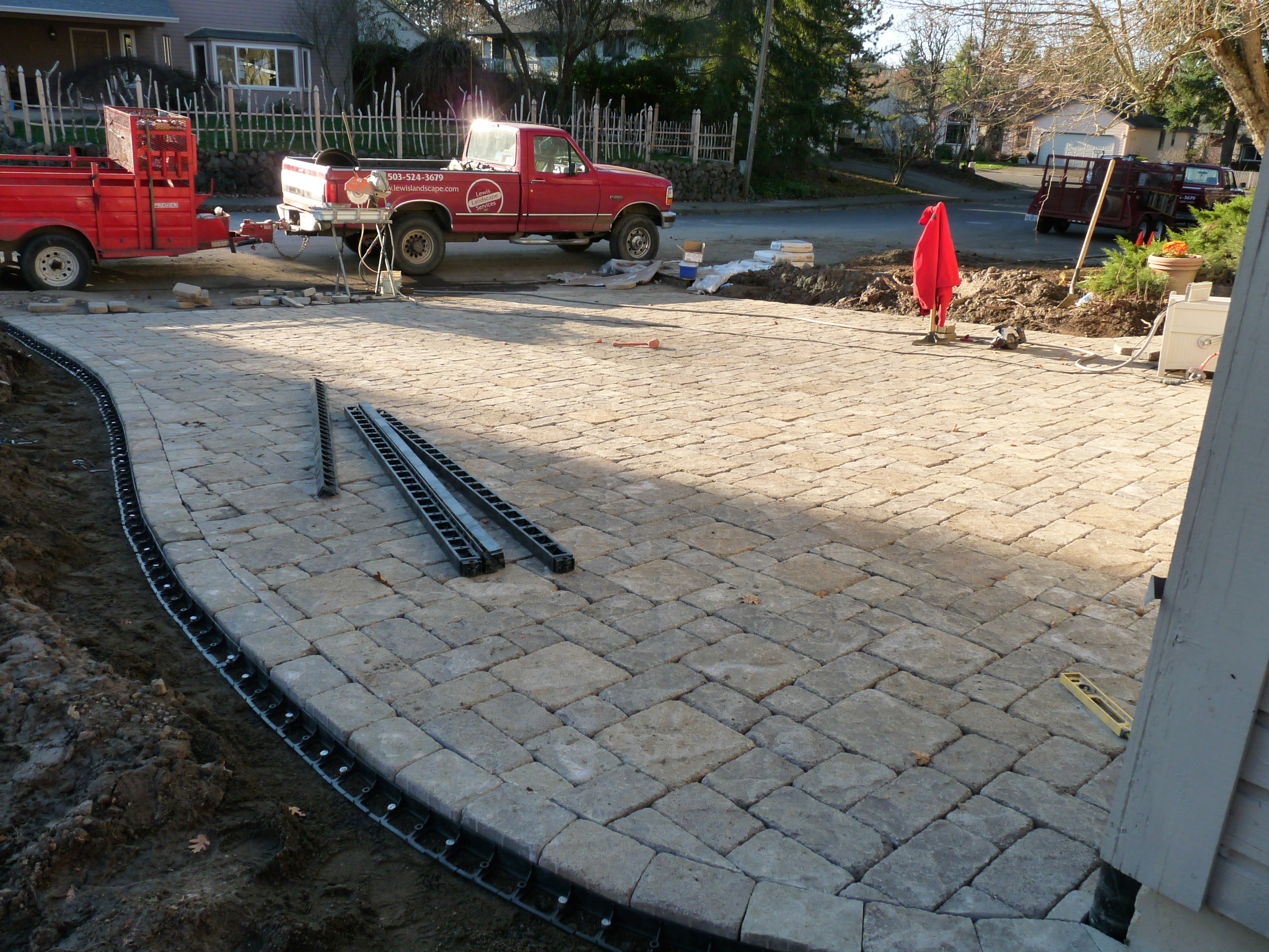 Paver Driveway During Construction - Getting Close!