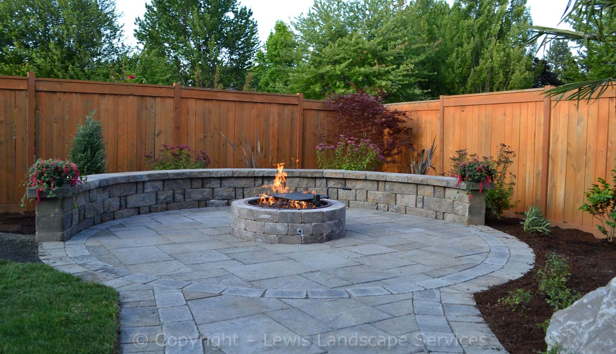 Gas Fire Pit, Seat Wall, Paver Patio