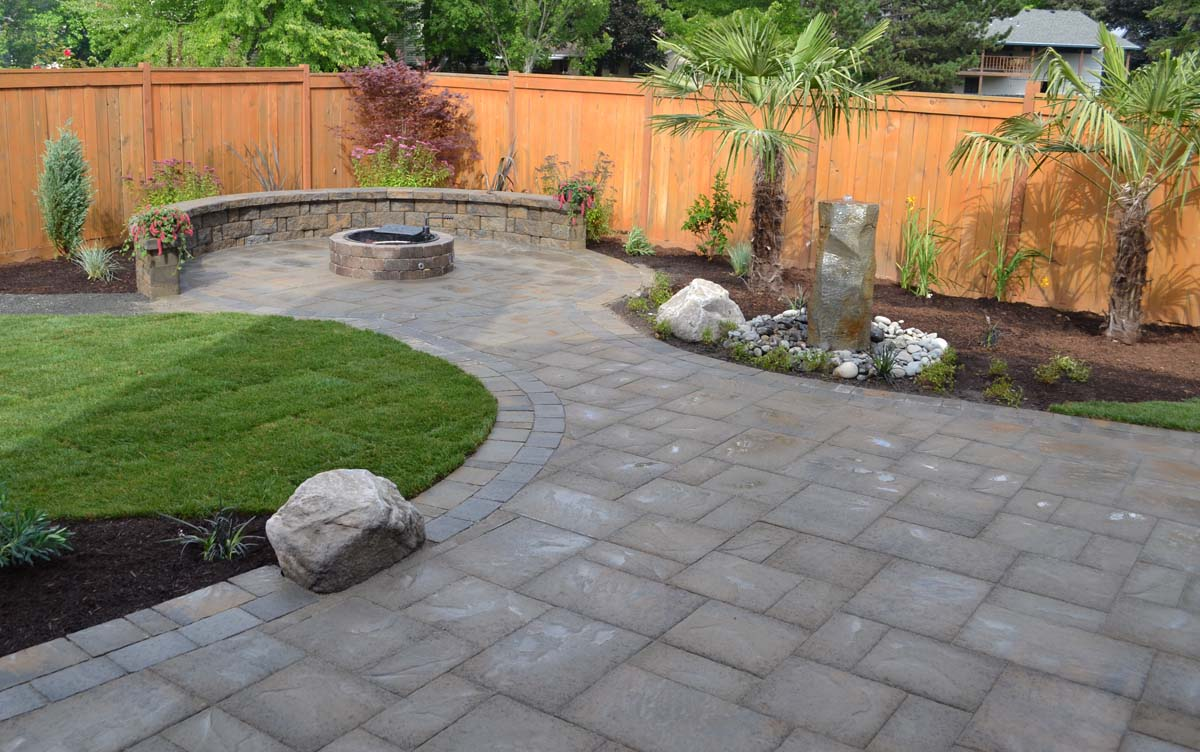 Paver Patio, Rock Accents, Fire Pit, Seat Wall, Landscaping