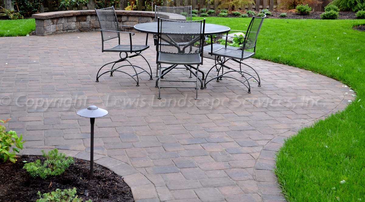 Paver Patio, Seat Wall, Sod Lawn